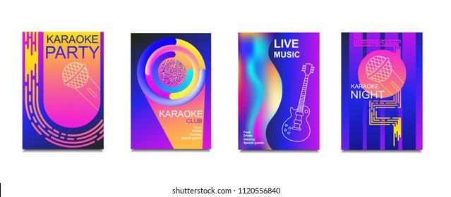 Karaoke party invitation flyer template. Concept for a night club.Design template.Advertising bright karaoke bar, party, disco bar.Live music.Ticket Neon Vector.Set of neon banner poster.