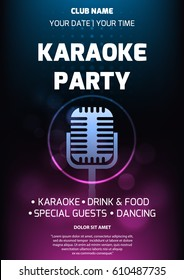 Karaoke party invitation flyer template. Dark background with abstract light and glare. Retro microphone silhouette in center. A4 size. Vector eps 10.