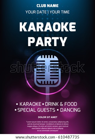 Karaoke Party Invitation Flyer Template Dark Image Vectorielle De