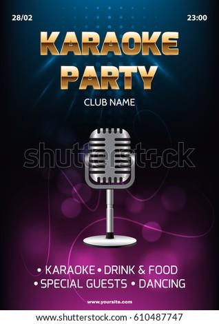Karaoke Party Invitation Flyer Template Dark Stock Vector Royalty