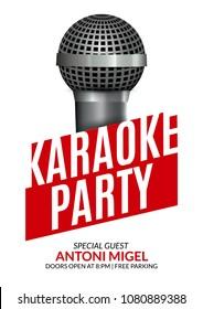 Karaoke party invitation poster design template. Karaoke night flyer design. Music voice concert.