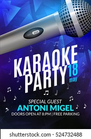 Karaoke party invitation poster design template. Karaoke night flyer design. Music voice concert