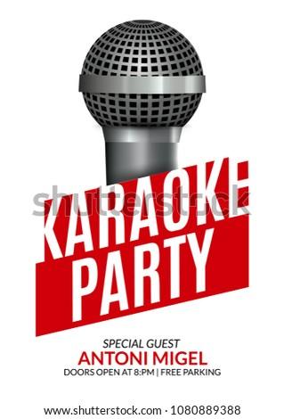 Karaoke Party Invitation Poster Design Template Stock Vector