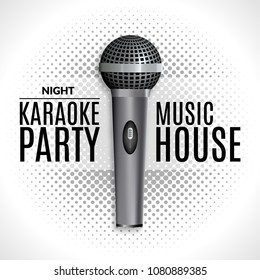 Karaoke party invitation poster retro design template halftone. Karaoke night flyer design. Music voice concert.