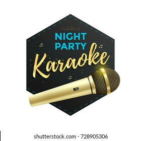 Karaoke party label or icon design with golden microphone. Vector illustration