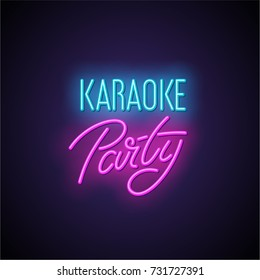 Karaoke party neon light sign. Vector illustration.
