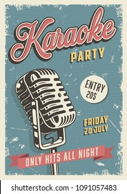 Karaoke party vintage poster with microphone. Vector illustration.