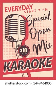 Karaoke Poster Design in Vintage Style with microphone