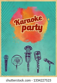 Karaoke retro party invitation poster design template. Set of microphones  for karaoke parties. Retro Typography flyer invitation vector illustration. Art Deco Epoch 1920's 1930's and 1940's, 1950's