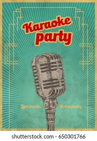Karaoke retro party invitation poster design template. Microphone for karaoke parties. Retro Typography flyer invitation vector illustration. Art Deco Epoch 1920's 1930's and 1940's, 1950's Style