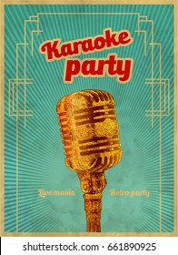 Karaoke retro party invitation poster design template. Gold microphone for karaoke parties. Typography flyer invitation vector illustration. Art Deco Epoch 1920's 1930's and 1940's, 1950's Style