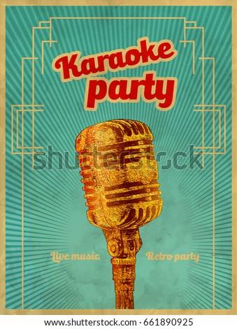 karaoke retro party invitation poster design stock vector royalty