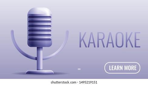 Karaoke studio microphone concept banner. Cartoon illustration of karaoke studio microphone vector concept banner for web design