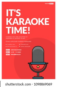 It's Karaoke Time Event Poster with Mic Vector Illustration