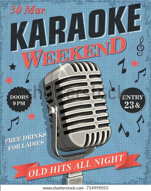 Karaoke vintage poster.