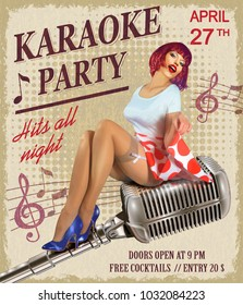 Karaoke vintage poster with sexy pin-up girl.