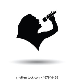 Karaoke womans silhouette icon. White background with shadow design. Vector illustration.