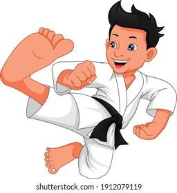 karate boy cartoon isolated on white background