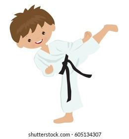 Karate boy vector cartoon illustration