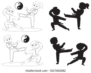 Karate boys and girls coloring black silhouettes illustration vector