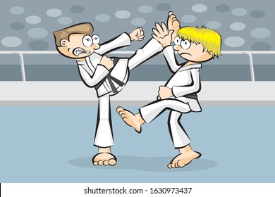 Karate demonstration fight between two competitors, in a sports stadium. One of the fighters deflects with his hand the fierce flying kick that his opponent throws at him. Vector illustration cartoon.