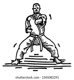 A Karate exponent doing a horse-stance punch. Hand drawn vector illustration.