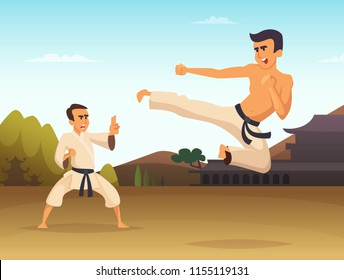 Karate fighters Cartoon background vector illustration. Fighter karate, sport art martial, combat kick training, vector illustration