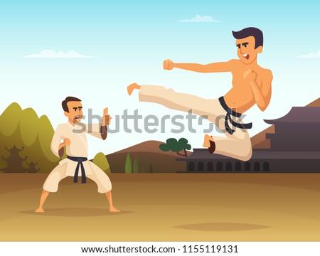 Karate fighters Cartoon background