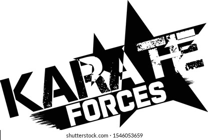 Karate Force Logo With Scratched Stars