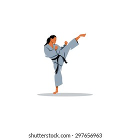 Karate girl sign. Vector Illustration. Branding Identity Corporate logo design template Isolated on a white background