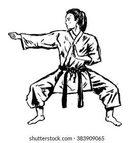 karate girl sketch - vector