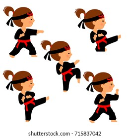"Karate girl vector illustration isolated on white background. Set of karate poses in cartoon style. Girl practices kicks. Kid in black kimono with red belt and head band with ""Rising Sun"" symbol."