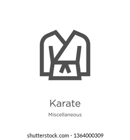karate icon. Element of miscellaneous collection for mobile concept and web apps icon. Outline, thin line karate icon for website design and mobile, app development