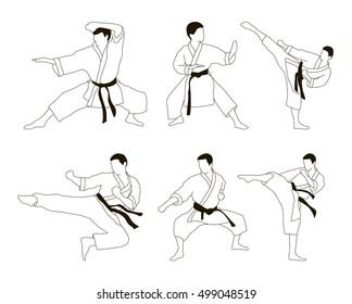 Karate icon set