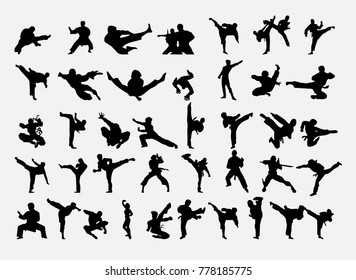 Karate icons set. Vector illustration.