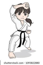 Karate image - girl  /  Vector material of Japanese culture