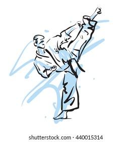 karate kick, vector illustration
