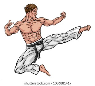 A karate or kung fu martial artist delivering a flying kick wearing white gi trousers and blackbelt