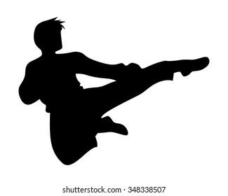 karate kung fu side kick silhouette