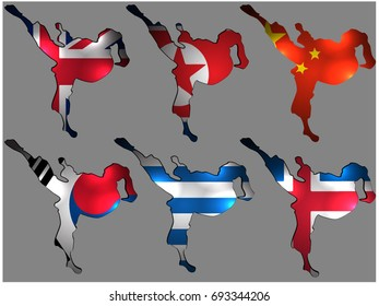 Karate logo with the flag of Great Britain, South Korea, North Korea, China, Iceland, Finland