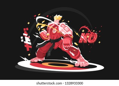 Karate man in kimono vector illustration. Sportsman with black belt standing in pose ready to fight flat style concept. Japan traditional martial arts. Isolated on dark background with inscription KO