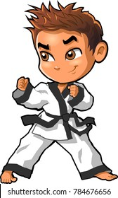 Karate martial arts tae kwon do dojo vector clipart cartoon Boy Stance