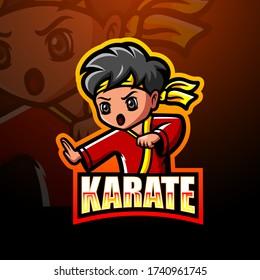 Karate martial mascot esport logo design