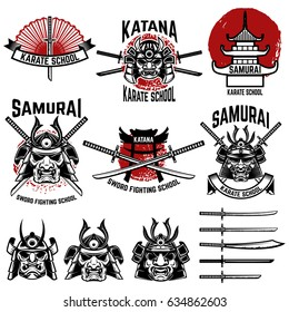 Karate school labels. Samurai swords, masks. Japanese culture. Design element for logo, label, sign. Vector illustration