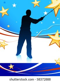 Karate Sensei with Sword on Abstract USA Flag Background Original Illustration