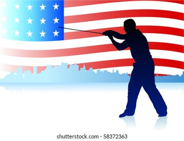 Karate Sensei with Sword on Skyline and USA Flag Background Original Illustration