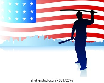 Karate Sensei with Sword on Skyline and USA Flag Background Original Illustration