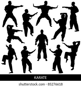 Karate silhouettes