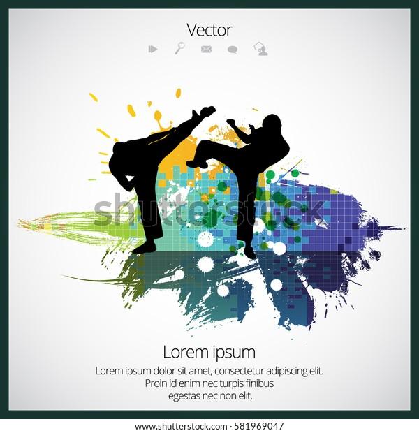 Karate splash background, vector