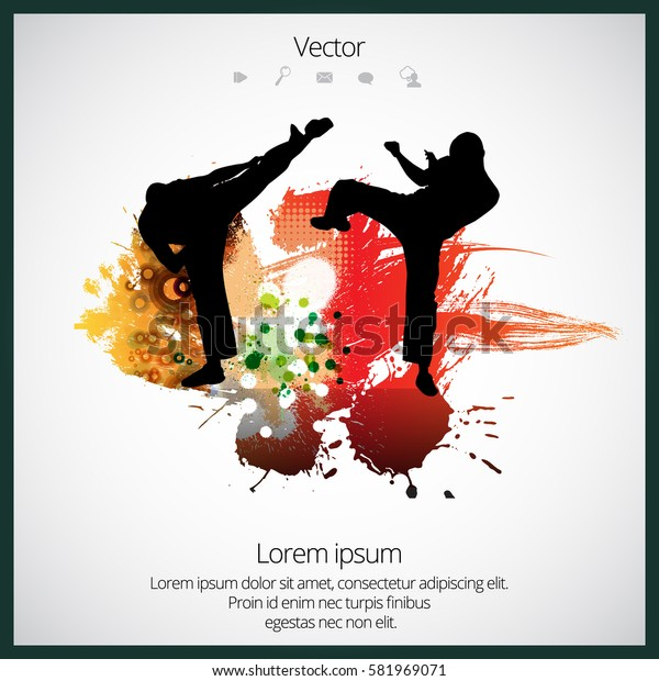 Karate splash background, vector